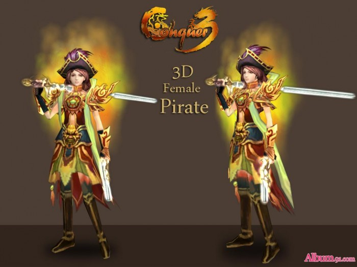 new 3D conquer character female pirate