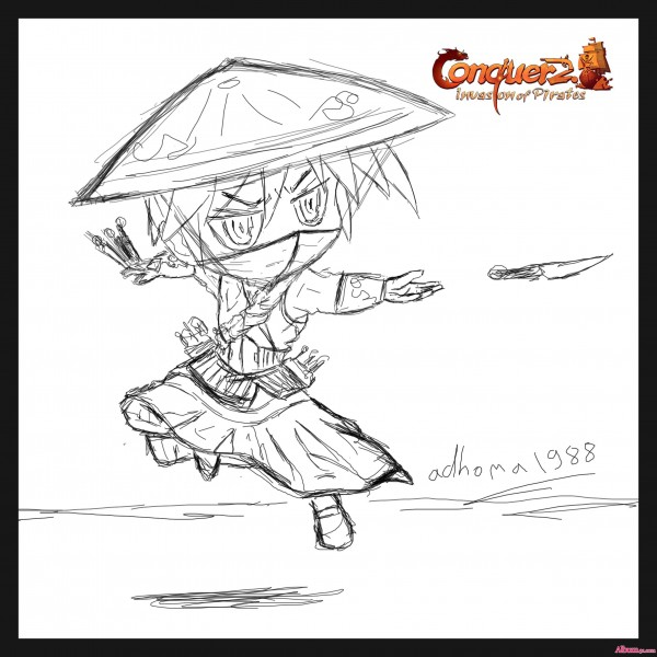 Conquer Online Chibi Assassin Male Quick Out lines